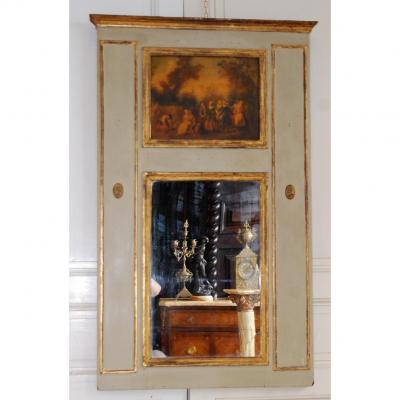 Trumeau De Style Louis XVI, Epoque XIXeme, Bois Laqué et Doré