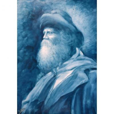 Plaque En Porcelaine Peinte Main, Portrait d'Un Vieil Homme