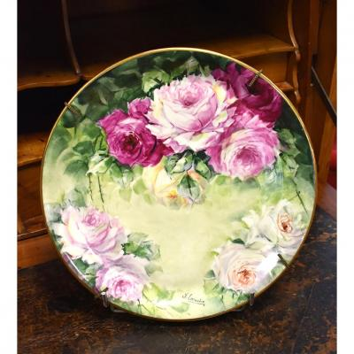 Plate With Roses, Porcelain Limoges, Hand Painted Decor, XXth