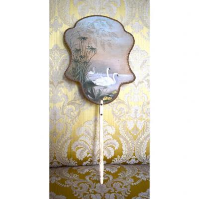 Eventail En Soie, Epoque Napoleon III, Décor Aux Cygnes, Peint Main