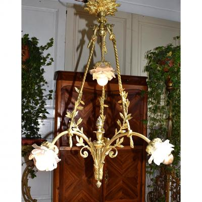 Chandelier With Roses And Leaves Laurel, Gilt Bronze, Epoque XIX