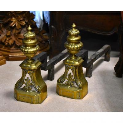 Paire De Chenets De Style Louis XVI En Bronze, Epoque XIXeme