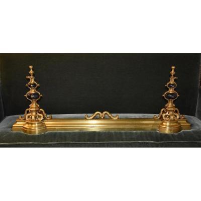 Barre De Cheminée En Bronze Et Marbre, Epoque Napoleon III, XIXeme