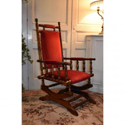 Fauteuil à Bascule Anglais , Rocking Chair, Tissu Velours