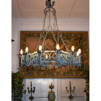 Grand Lustre En Fer Forgé, 12 Feux, Style Neo Renaissance