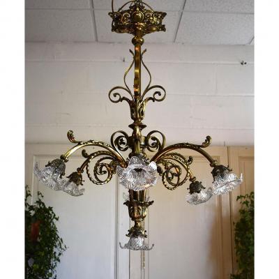 Grand Lustre Napoléon III, Bronze Et Cristal, Sept Feux