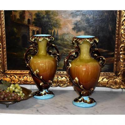 Paire De Vases, Forme Balustre, Faïence Polychrome Vernissée, vers 1900