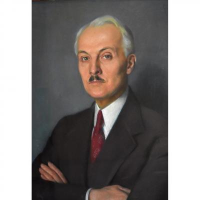 """Pastel Art Déco, G. Methion """"Portrait d'Un Homme Elegant"""", 1934, Epoque Art Deco"""