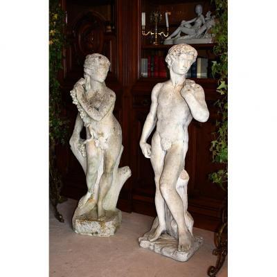 Pair Of Garden Statues, Couple, Male Statue, Female Statue