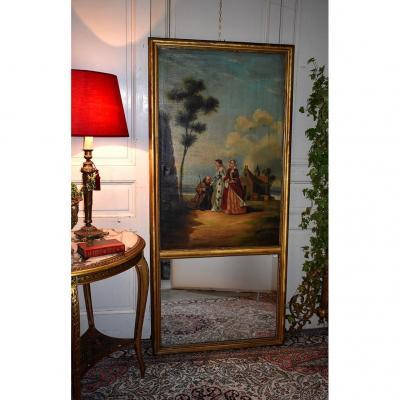 Grand Trumeau De Style Louis XVI / Directoire, Miroir De Cheminée, Epoque  XIX ème