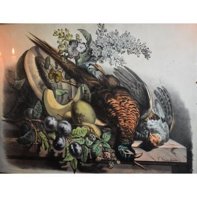 Nature Morte Au Faisan d' Après F.F. Grobon, Lithographie  Thème Chasse, Epoque XIX ème