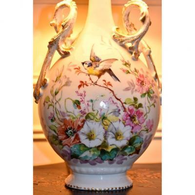 Lampe En Porcelaine De Limoges, Décor Oiseau Et Fleurs Des Champs, Entièrement Peint Main