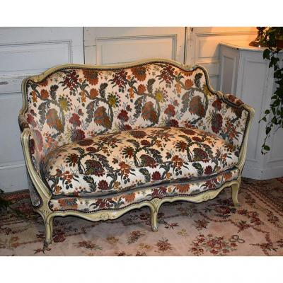Louis XV Style Reclaimed Sofa, Bench With Cushion, Velvet Fabric