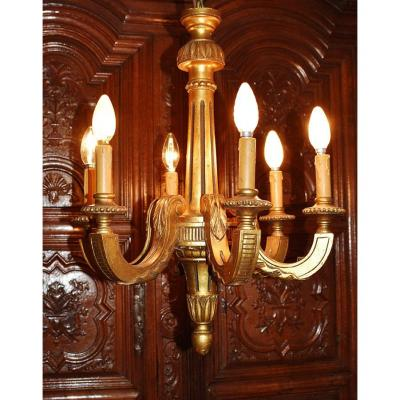 Golden Wood Chandelier Louis XVI Style, Six Arms Of Light