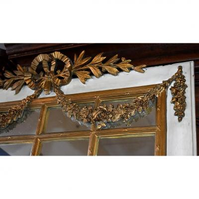 Louis XVI Style Mirror, Trumeau, Lacquered Wood