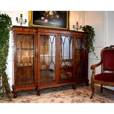 Large Chippendale English Showcase, Glass Library, England Early 20th Century, Mahogany