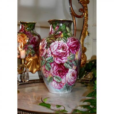 Limoges Porcelain Vase, Decor With Roses, Mavaleix And Granger (period 1920-1938)