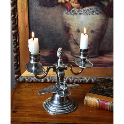 Candlestick With Two Lights In Silver Metal, Louis XVI Style