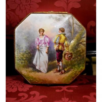 Large Limoges Porcelain Jewelry Box, Hand Painted Decor, Gallant Scene, Signed Dubois