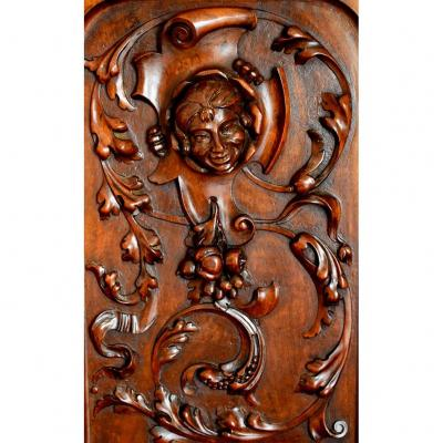 Carved Panel, Grotesque Woodwork, Decorative Element, Walnut, XIXth Period