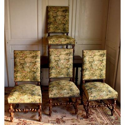 Four Large Chairs, Louis XIIIth, Oak, Tapestry