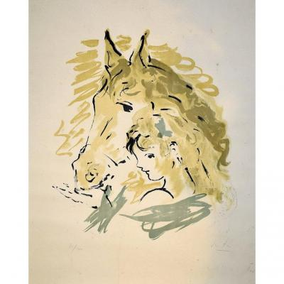 Marcel Vertès (1895-1961), Portrait Of Little Girl And Her Horse, Original Lithography, Etching