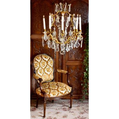 Large Cage Chandelier With Tassels, Lighting Eight Lights, For Candle Lighting, Bronze And Crystal