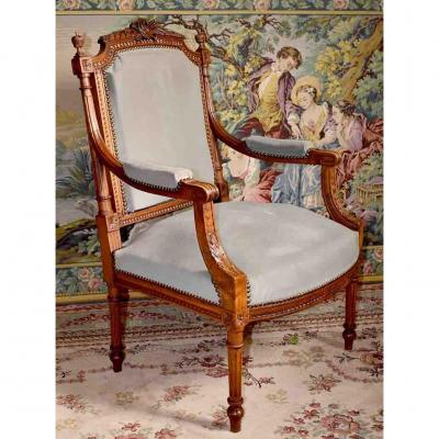 Louis XVI Style Armchair, Decor At The Lyre And The Painter's Palette, Period XIX