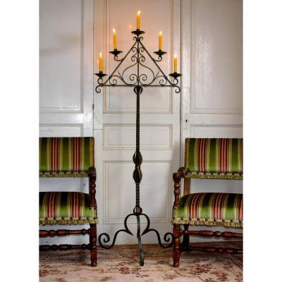Large Wrought Iron Candlestick, Candlestick, Floor Lamp, Candlestick