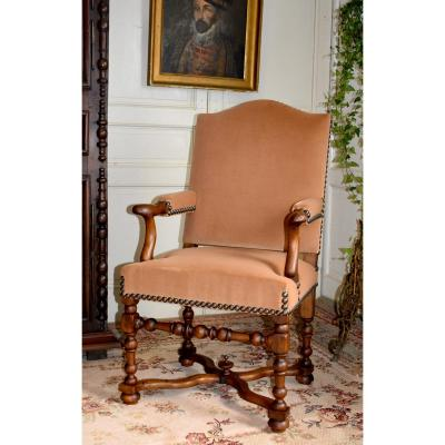 Louis XIV Style Armchair With Spacer, Velvet Fabric, XXth