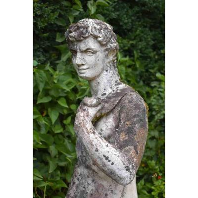 Large Reconstituted Stone Garden Statue, Naked Man, Apollo, XXth