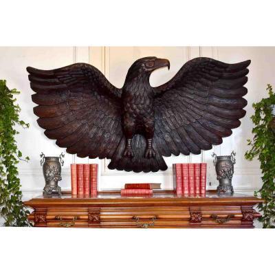 Large Golden Eagle In Carved Wood, Sign, Decorative Element, Naturalist Sculpture