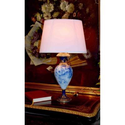 Limoges Porcelain Lamp, Decor Of Roses In Shades Of Blue Signed Marcadet, Oven Blue