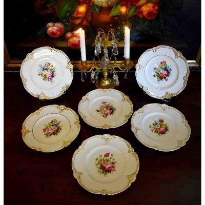Suite Of Six Porcelain Dessert Plates, Louis Philippe Period, Hand Painted Floral Decor