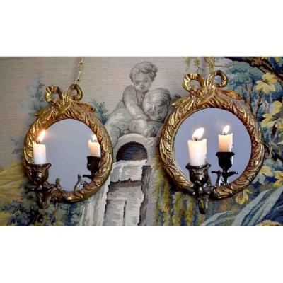 Pair Of Gilt Bronze Mirror Sconces, Louis XVI Style, Candle Lighting, XXth Period