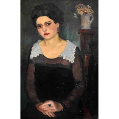 Pierre Wagner (1897-1943), Portrait Of A Woman, Large Female Portrait, Oil On Canvas