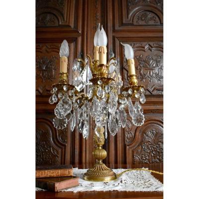 Grande Girandole De Style Louis XV, Rocaille, Bronze Doré Et Pampilles Cristal, XX ème