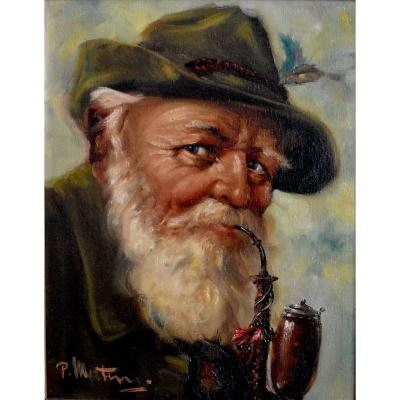 Portrait Of An Old Tyrolean Pipe Smoker, Oil On Framed Canvas, Early Twentieth