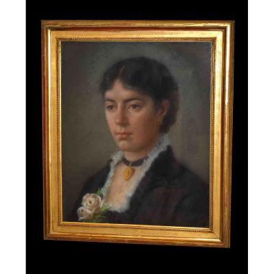 Pastel, Portrait De Femme, Epoque XIXème, Portrait Feminin.