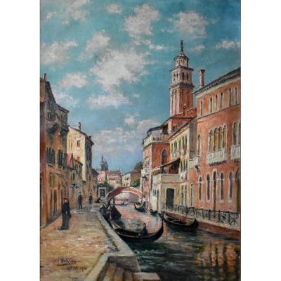 """Jean Georges Pasquet (1851-1936) ,""""Venise 1910"""", Huile sur Toile Encadrée"""