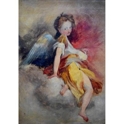 Portrait Of An Angel, Cherub, Oil On Canvas, XIXth Century