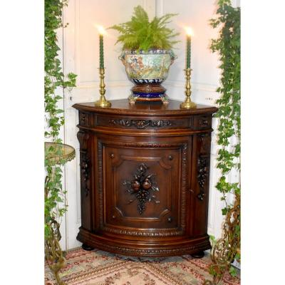 Curved Corner Cabinet In Carved Oak, Corner Cabinet Or Support, Falling Flowers And Fruits