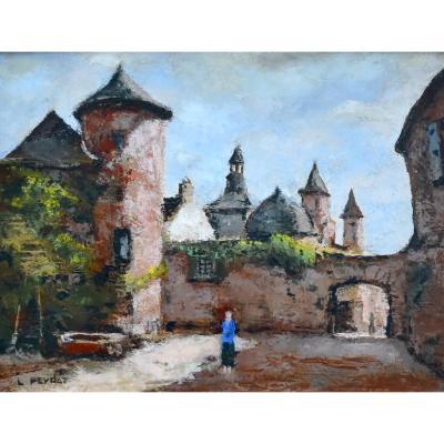 """Louis Peyrat (1911-1999) """"view Of Collonges-la-rouge, 1962"""", Corrèze, Oil On Canvas, XXth"""