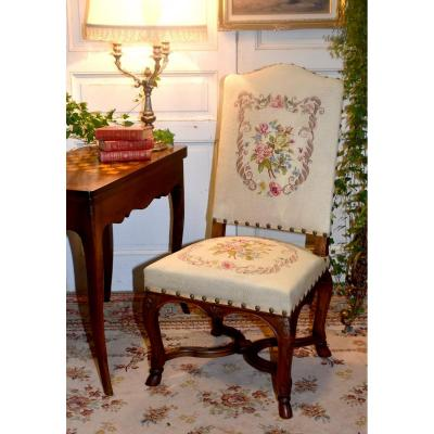 Regency Style High Back Chair, Embroidered Fabric With Small Dots, Decor Of Roses, XIX