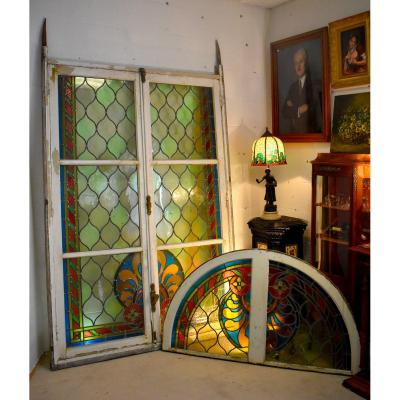 Height 3m14, Large Window Door In Stained Glass With Transom, Stained Glass, Around 1900