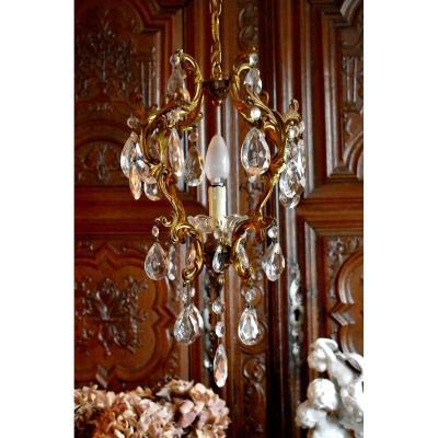 Lustre Cage En Bronze Doré Et Pampilles,  Lustre d'Entrée ou de Couloir, Eclairage à Un Feu