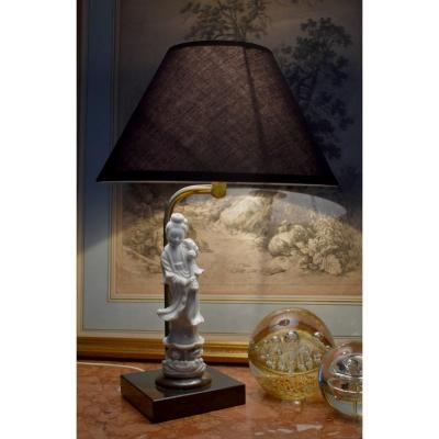 Lamp, Guan Yin Statue In White Porcelain, Goddess Kuan Yin, White From China