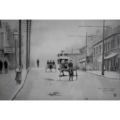 Bus à Impériale Et Calèche, Dessin à La Mine De Plomb, Angleterre, Scène De Rue , Années 20