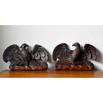 Pair Of Small Royal Eagles In Carved Oak, Golden Eagle, Decorative Woodwork Elements