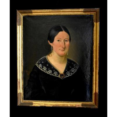 J. Roberti, Portrait Of Madame Catherine De Lasnerie, 1841, Oil On Canvas, Female Portrait